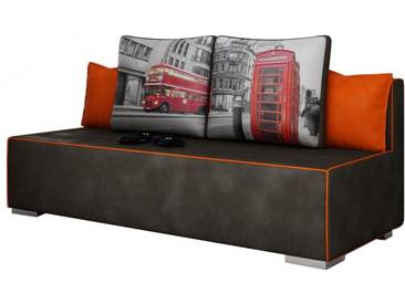 Canapé convertible à 2 places en tissu noir avec coussins décoratifs et coffre de rangement