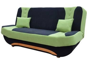 Canapé clic-clac à 3 places en tissu noir et vert avec coffre de rangement