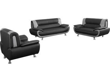 Ensemble de canapé 3+2+1 design pvc coloris gris foncé et noir Nino