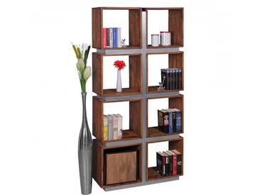 SOLDES - Bibliothèque 180 cm à 8 étagères en bois massif de sheesham collection C-Swart