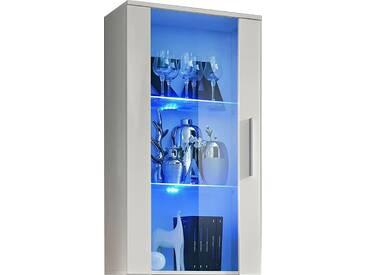SOLDES - Vitrine murale moderne 110 cm à 1 porte vitrée avec éclairage LED en panneaux de particules coloris blanc
