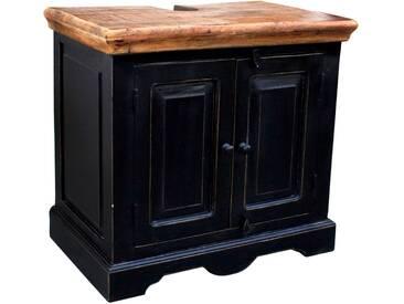 SOLDES - Meuble sous vasque 66x60 cm en bois de manguier et MDF avec 2 portes coloris brun et noir antique