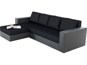 SOLDES - Canapé dangle convertible en pu gris et tissu noir avec méridienne et coffre de rangement réversible