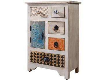 Commode style vintage en bois massif manguier avec 6 tiroirs 51x64x31cm collection C-Lilian