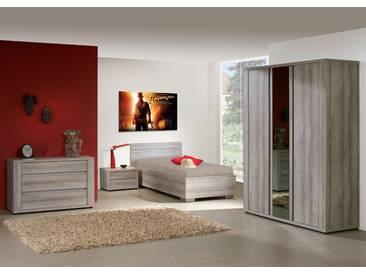 SOLDES - Ensemble chambre à coucher contemporaine avec lit 90x200 cm et armoire 3P coloris mara