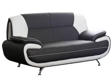 Canapé 2 places design en pvc noir et blanc design Nino
