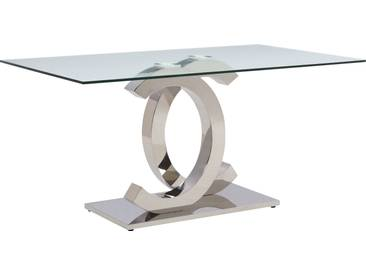 Table de salle à manger design double C en acier inoxydable poli et verre trempé sécurit 12mm L. 180 x P. 90 x H. 75 cm collection C-Niven