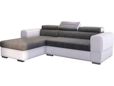 Canapé dangle convertible en pu blanc et tissu gris avec méridienne et coffre de rangement du côté gauche