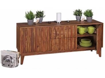 Buffet 160 x 45 cm avec 2 portes et 2 tiroirs en bois de sheesham massif coloris naturel collection C-Perdija