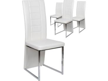 Lot de 4 chaises de table pvc coloris blanc