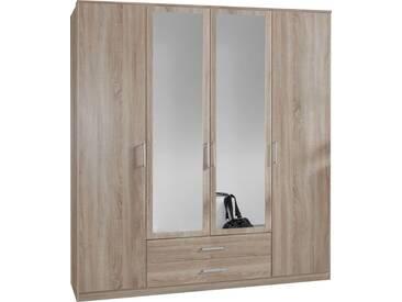 SOLDES - Armoire 180x199 cm à 2 portes + 2 portes-miroirs + 2 tiroirs coloris chêne  naturel