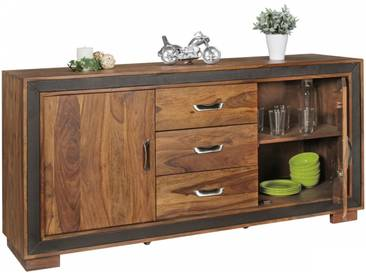 Buffet contemporain 160 cm à 2 portes et 3 tiroirs en bois massif de sheesham collection C-Ladaro