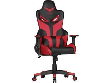 Chaise de bureau baquet Racer pour gamer avec coussins L. 70 x P. 58-13 x H. 124-131 cm coloris rouge et noir collection C-Slovak supporte 120 kgs