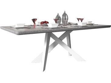 SOLDES - Table design 200 x 100 cm coloris gris marbre avec pieds croisés blancs