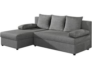 SOLDES - Canapé dangle convertible 3 places en tissu gris clair avec coffre méridienne réversible