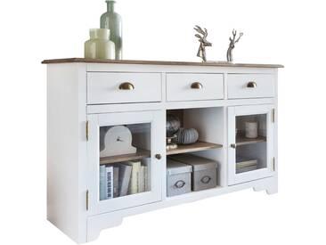 Buffet contemporain avec 2 portes et 3 tiroirs bois pin massif peint en blanc et plateau en marron de style country 140 x 85 x 45 cm collection C-Trisa