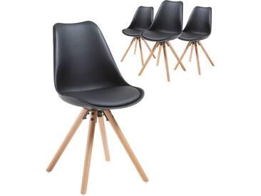 Lot de 4 chaises noir design scandinave avec assise rembourré en polyester et dossier en polypropylène avec piètement en bois massif