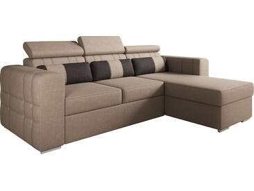 Canapé dangle convertible réversible design en tissu brun avec coffre méridienne