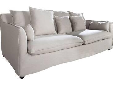 Canapé 3 places moderne en tissu déhoussable coloris beige