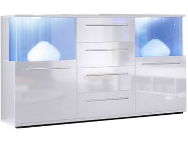 SOLDES - Buffet 141.5 cm à 2 portes avec éclairage LED et 4 tiroirs coloris blanc