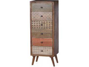 SOLDES - Meuble semainier 45x120 cm vintage en bois de sheesham avec 6 tiroirs coloris brun et multicolore