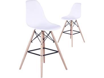 SOLDES - Ensemble de 2 chaises hautes scandinaves en plastique blanc avec piétement en bois