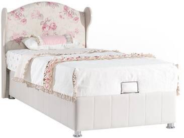 Lit-coffre fille 90x200cm coloris bois naturel et blanc