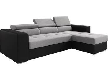 Canapé dangle convertible et réversible en tissu et pvc avec méridienne et coffre coloris gris et noir