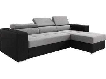 Canapé d'angle convertible et réversible en tissu et pvc avec méridienne et coffre coloris gris et noir