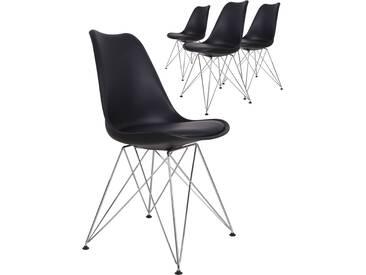 Lot de 4 chaises design coloris noir avec piétement en acier croisé