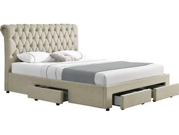 Lit 160x200 cm design avec 4 tiroirs et tête de lit capitonnée en tissus beige