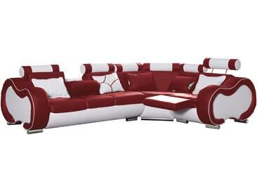 Canapé dangle gauche design 5 places avec relax manuel en pvc et cuir véritable coloris rouge et blanc