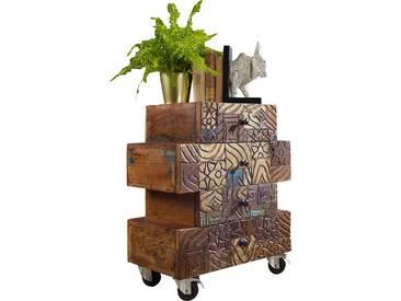 Commode ZigZag en bois massif surface sculptées avec des dessins vintages 55x70x35 cm collection C-Rein