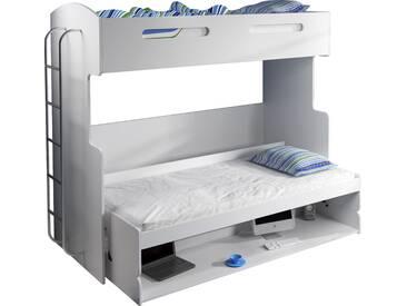 Lit combiné superposé escamotable 90x200 avec espace de bureau amovible