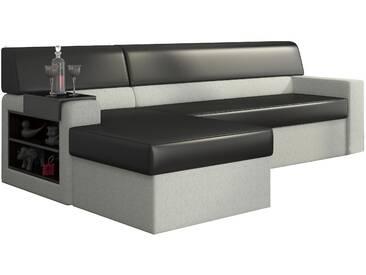 Canapé dangle convertible 3 places en tissu blanc et pvc noir avec  coffre méridienne côté gauche
