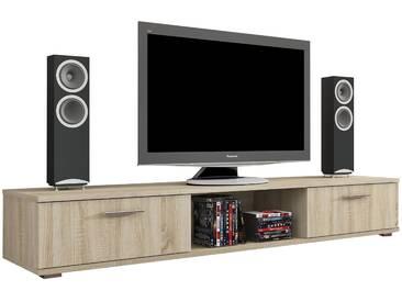 Meuble TV design 176 cm à 2 portes coloris sonoma