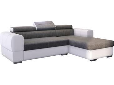 Canapé dangle convertible en pu blanc et tissu gris avec méridienne et coffre de rangement du côté droite
