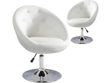 SOLDES - Chaise de bureau design 85-100 cm en simili cuir coloris blanc