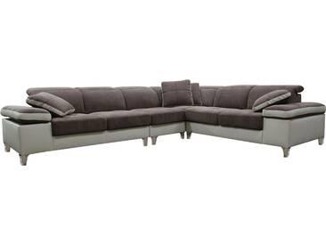 Canapé dangle réversible design en tissu brun et pvc beige