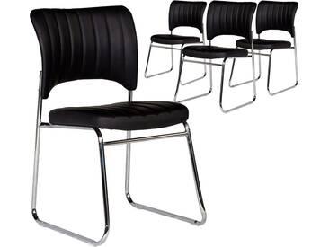 Lot de 4 chaises moderne en pvc noir et pieds en acier chromé