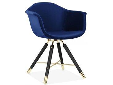 Cult Studio Chaise avec Accoudoirs Moda CD5, Rembourré en Velours, Bleu Pied de chaise et support: Finition Noir / Or