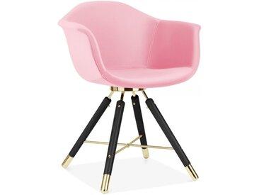 Cult Studio Chaise avec Accoudoirs Moda CD5, Rembourré en Velours, Rose Pied de chaise et support: Finition Noir / Or