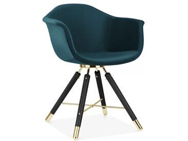 Cult Studio Chaise avec Accoudoirs Moda CD5, Rembourré en Velours, Sarcelle Foncée Pied de chaise et support: Finition Noir / Or