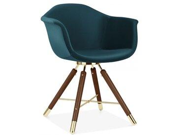 Cult Studio Chaise avec Accoudoirs Moda CD5, Rembourré en Velours, Sarcelle Foncée Pied de chaise et support: Finition Noyer / Or