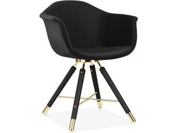 Cult Studio Chaise avec Accoudoirs Moda CD5, Rembourré en Velours, Noir Pied de chaise et support: Finition Noir / Or