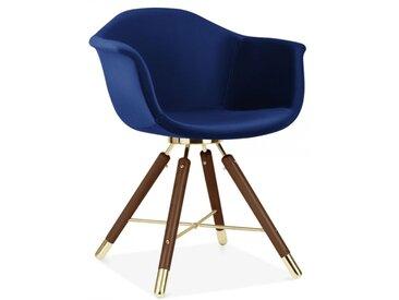 Cult Studio Chaise avec Accoudoirs Moda CD5, Rembourré en Velours, Bleu Pied de chaise et support: Finition Noyer / Or