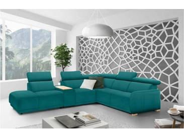JUSTyou Elisea Canapé panoramique Velours Turquoise
