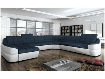 JUSTyou INFINITY XL Canapé panoramique Blanc Bleu
