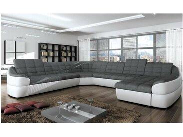 JUSTyou INFINITY XL Canapé panoramique Blanc Gris