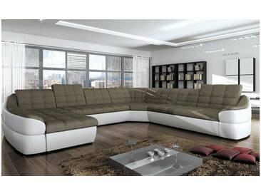 JUSTyou INFINITY XL Canapé panoramique Blanc Brun